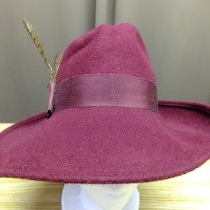 "Vintage Marron Fedora 7"" wide brim 100% Wool"